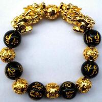 Feng Shui Black Obsidian Alloy Wealth Bracelet Original Quality R1K5