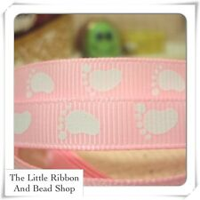 "✂ 2m grosgrain 3/8"" (9mm) WHITE BABY FEET (PINK)  printed ribbon"
