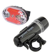 2 Linterna Delantera Headlamp Trasera 5 LED Luz Blanco/Rojo para Camping Bici