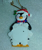Penguin Santa Claus Glitter Snowflake Ornament Christmas Tree Personalized