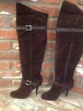 Calvin Klein Brown Suede Over-the-Knee Side Zip Slouchy Boots, Fall Boots Sz 10