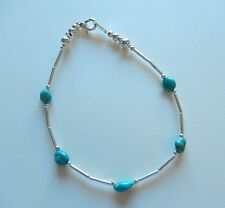 Anklet -silver color-turquoise color beads --8.75 inches long