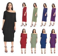 Ladies Off Shoulder Baggy Midi Dress Ladies Oversize 2 Pocket Parachute Dress