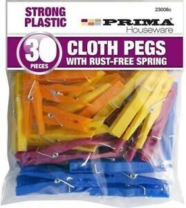 30 Prima Cloth Pegs Washing Line Strong Plastic Rust-Free Springs Clothes Pegs
