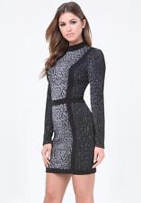 BEBE CAROLINA LEOPARD MOCK NECK DRESS NEW NWT $159 XSMALL XS