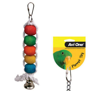 Avi One Beads Bell Hanging Fun Chew Budgie Finch Canary Conure Parrot Toy