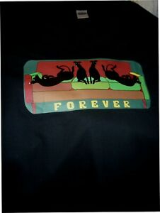 "Greyhounds Whippets Forever Sofa Tee Shirt Tshirt size XL 44""-46"" V Neck Black"