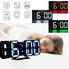 3D LED Horloge Clock Numérique 24/12 Heure Affichage Alarme Reveille Table Mural