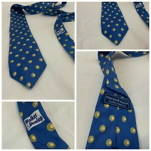 "Vineyard Vines Custom Neck Tie Blue Gold Walker & Dunlop 3.25"" Silk YGI G1-364"