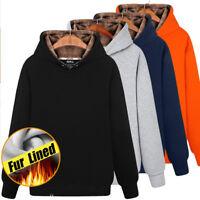 Mens Winter Fleece Warm Fur Lined Pullover Sweatshirt Hooded Coat Sweater Tops