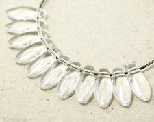 Czech Daggers 12mm (30) Clear Teardrops, Ice Glass Beads