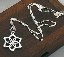 Women LOTR Nenya Elven Queen 925 Sterling Silver Flower Pendant Necklace BJ26