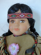 NATIVE AMERICAN Indian- Fine Porcelain Doll Complete Costume 14 Inches