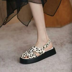 Womens Fashion Leather Horse Hair Platform Close Toe Slingback Sandals Shoes SKG