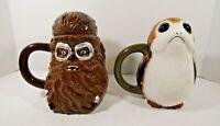 Disney's Star Wars The Last Jedi Chewbacca and Porg 20 Ounces Ceramic Mugs