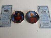 Star Trek Next Generation 2 Mini plates 1997 CAPTAIN PICARD & COMMANDER RIKER