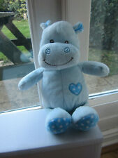 """Card Factory Teeny Hippo Blue Heart  Soft Toy Comforter 12"""" 30 cm"""