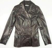 Joie Women's Dark Brown Italian Leather Button Up Long Car Jacket Coat Sz M