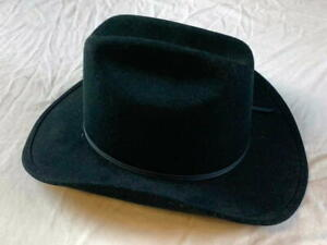 "Jhats American Black Cowboy Hat WPL5923 100% Wool 5.5""crown 3.75""brim size 7-3/4"