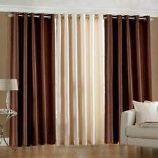 New Polyester Long Crush 3 Piece Curtain Set - 2 Brown 1 Cream - 5ft