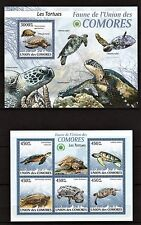 COMORES 2009 - LES TORTUES - SEA TURTLES - REPTILES M/S + S/S MNH**