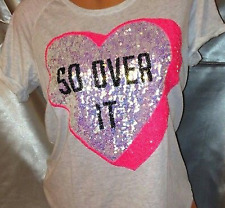"""VICTORIA'S SECRET PINK """"SO OVER IT"""" HEART TEE SHIRT BLING!! SIZE SMALL"""
