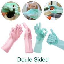 Magic Silicone Rubber Dish Washing Gloves Pair Double Sided Scrubber Cleaning