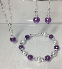Púrpura Collar de perlas Set nupcial Bridesmaids Regalo Joyería De Boda De Plata
