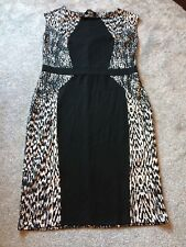 LOVELY DOROTHY PERKINS STRETCH DRESS BLACK ABD WHITE SIZE 18 VGC