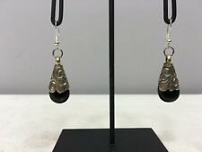 Earrins Black Onyx Crystal Dangle Etched Silver Tibetan Teardrop Earrings E155
