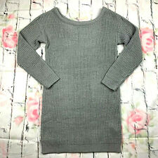 Missguided womens S grey off shoulder long sleeve knitted sweater dress NWT