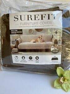 Sure Fit Brand Sofa Furniture Protector Cover Miracle Mink Chocolate 1 Piece