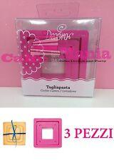 SET 3 TAGLIAPASTA QUADRATO DECORA IN PLASTICA 3 MISURE X BISCOTTI CAKE DESIGN