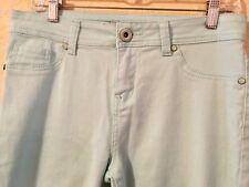 Roz and Ali Women Jeans Sz 10 Sea Foam Green Stretch Denim Skinny Leg Ankle (2D)