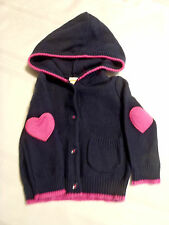 Gymboree 6-12 month Bundled & Bright Navy Heart Patch Hooded Sweater NWT