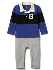 BABY GAP NWT Boys 2-in-one Blue Rugby Double-Layer One Piece 6-12 months Romper