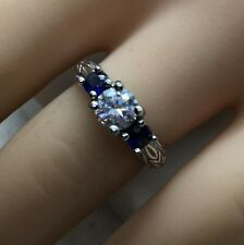Sterling Silver Ring Size 6.25 Blue Sapphire & Cubic Zirconia 925