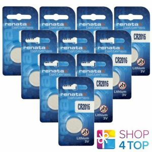 10 RENATA CR2016 LITHIUM BATTERIES 3V CELL COIN BUTTON DL2016 EXP 2026 NEW
