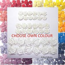36 Roses edible wedding cake cupcake decorations 25/30/45mm CHOOSE OWN COLOUR