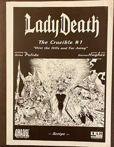 LADY DEATH THE CRUCIBLE #1 OVER HILLS & FAR AWAY ASHCAN SCRIPT CHAOS COMIC BOOK