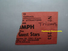 Triumph 1981 Concert Ticket Stub Fresno Ca Warnor'S Theatre Very Rare