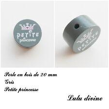 Perle en bois de 20 mm, Perle plate, Petite princesse : Gris