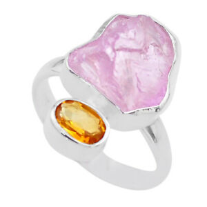 9.86cts Natural Pink Kunzite Rough Yellow Citrine 925 Silver Ring Size 8 T48203