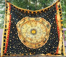 Rashi Chakra Wall Hanging Large Yellow Tapestry Indian Astrological Throw Gypsy