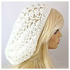 NEW Handmade Crochet SLOUCHY Beanie Hat Rasta Tam SOFT & EX BAGGIE Solid WHITE