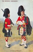 POSTCARD  MILITARY  THE SEAFORTH HIGHLANDERS - OFFICER & SERGEANT