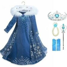 Girls Frozen 2 Fancy Dress Costume Party Complete Outfit crown wand gloves UK