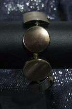 Very pretty elasticated deep gold tone plastic square and circle beaded bracelet