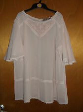 Amaryllis Sheer S/Sleeve Embroidery Detail Top 16 Pale Pink BNWT