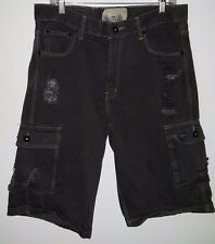 F.U.S.A.I. Men's Black Destroyed Look Jean Cargo Style Shorts Size 34/13.5